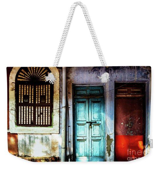 Doors Of India - Blue Door And Red Door Weekender Tote Bag