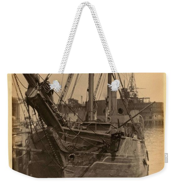 Doris Ulmann   1882-1934 , Head-on View Of Ship With Carvings On The Front In Harbor Weekender Tote Bag