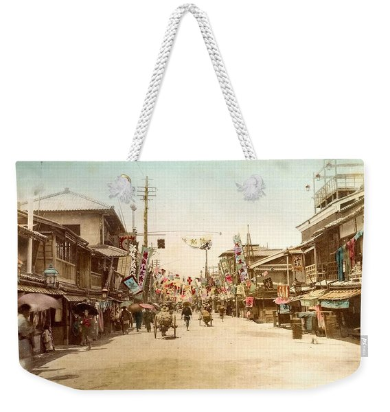 Dotonbori Osaka Handcolored Japanese Albumen Print From A Tourists Album Of The Early 20th Century  Weekender Tote Bag