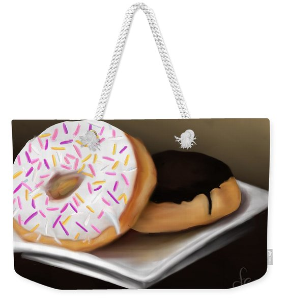 Weekender Tote Bag featuring the painting Doughnut Life by Fe Jones