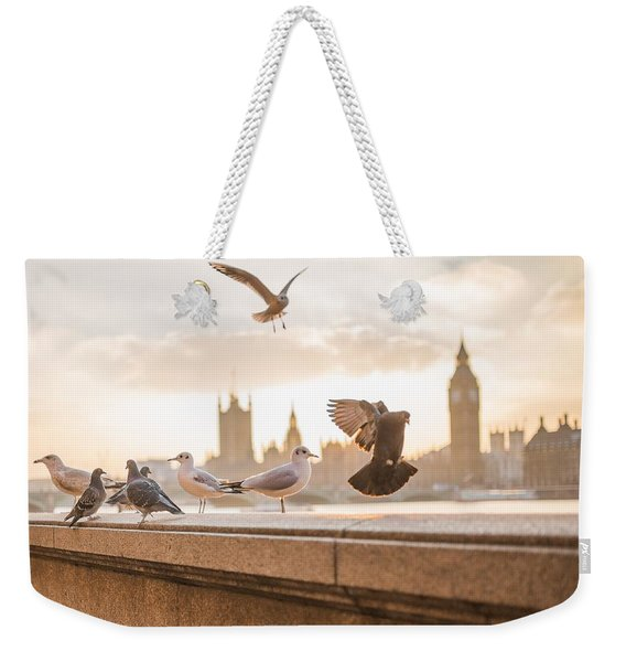 Doves And Seagulls Over The Thames In London Weekender Tote Bag