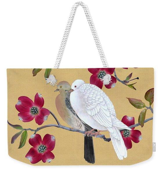 Doves In Red Dogwood Tree Weekender Tote Bag