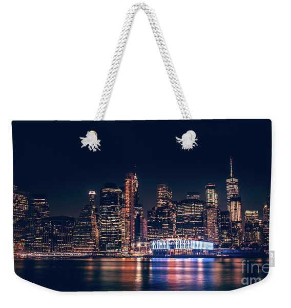 Weekender Tote Bag featuring the photograph Downtown At Night by Dheeraj Mutha