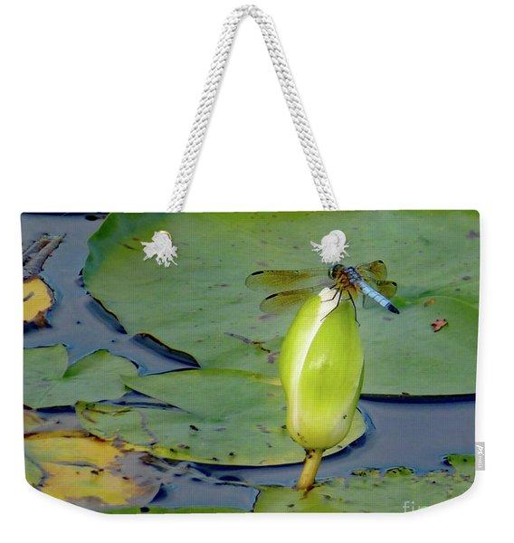 Dragonfly On Liliy Bud Weekender Tote Bag