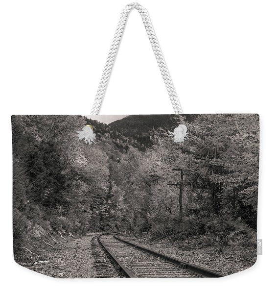 Dramatic Black And White Train Tracks Weekender Tote Bag
