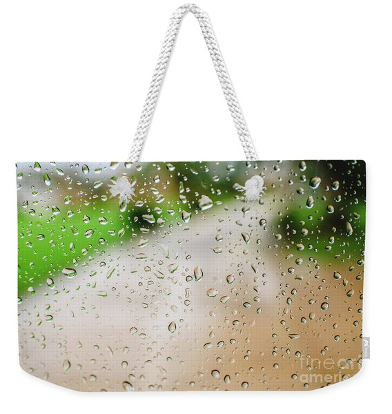 Drops Of Rain On An Autumn Day On A Glass. Weekender Tote Bag