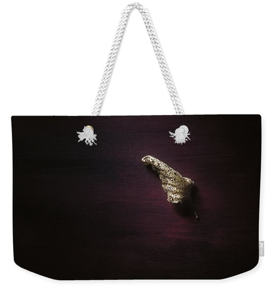 Dry Leaf On Muted Red Weekender Tote Bag