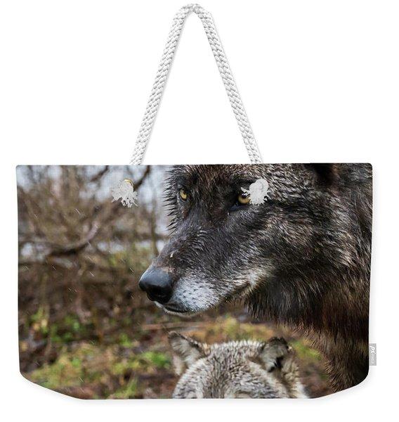 Dual Wolves Weekender Tote Bag