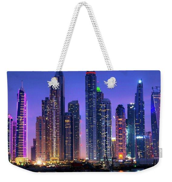 Dubai Marina Skyline At Night Weekender Tote Bag