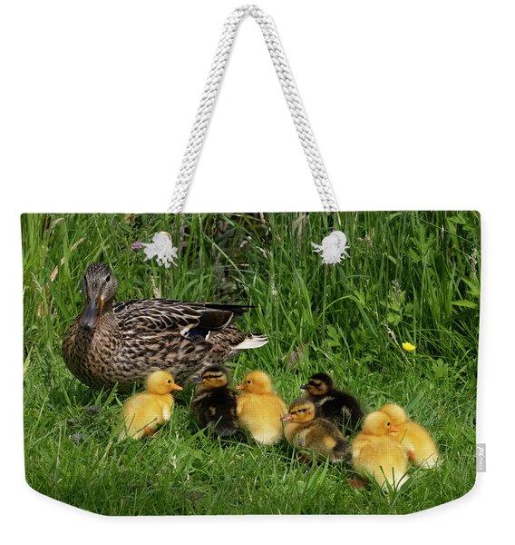 Duck And Cute Little Ducklings Weekender Tote Bag