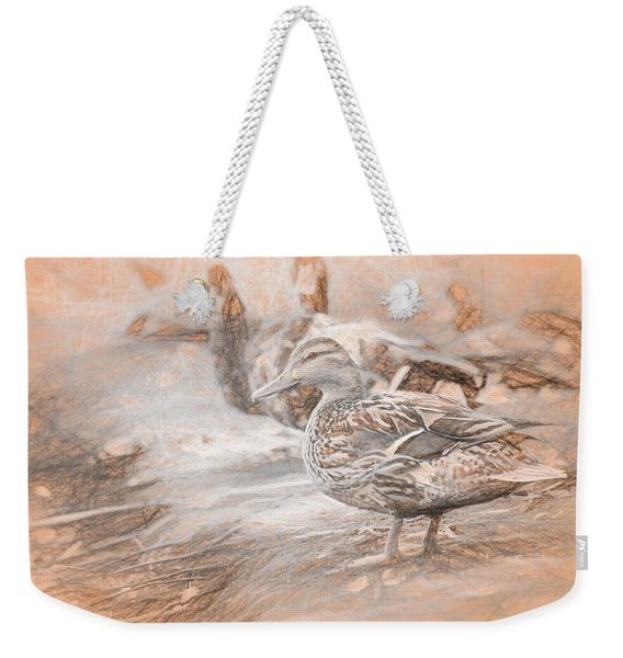 Weekender Tote Bag featuring the photograph Ducks On Shore Da Vinci by Don Northup