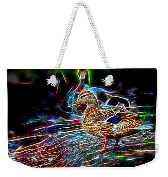 Weekender Tote Bag featuring the photograph Ducks On Shore Wizard by Don Northup