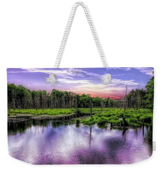Dusk Falls Over New England Beaver Pond. Weekender Tote Bag