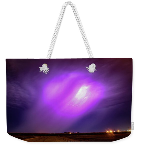 Weekender Tote Bag featuring the photograph Dying Late Night Supercell 016 by NebraskaSC