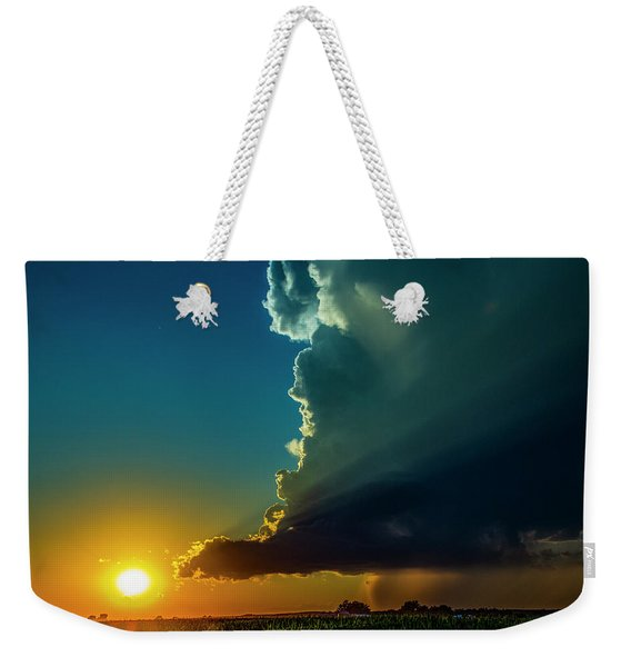 Weekender Tote Bag featuring the photograph Dying Nebraska Thunderstorms At Sunset 068 by NebraskaSC