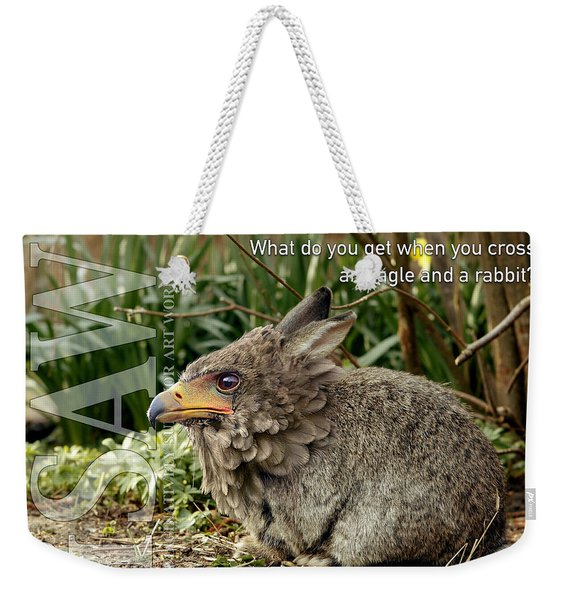 Weekender Tote Bag featuring the digital art Eaglabbit by ISAW Company