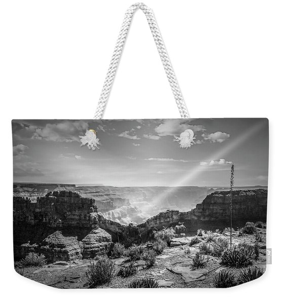 Eagle Rock, Grand Canyon In Black And White Weekender Tote Bag