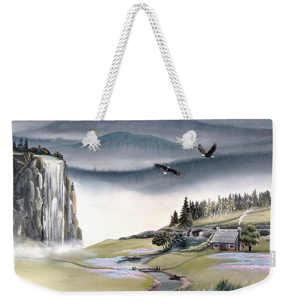 Weekender Tote Bag featuring the painting Eagle View by Deleas Kilgore