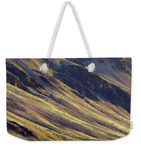 Early Morning Light On The Hillside In Sarchu Weekender Tote Bag