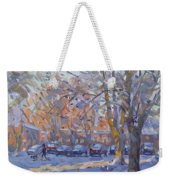 Early Morning Winter Scene Weekender Tote Bag