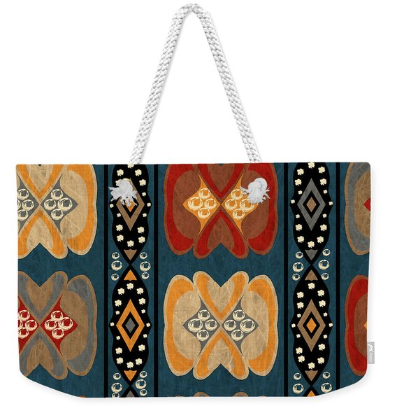 East African Heart And Diamond Stripe Pattern Weekender Tote Bag