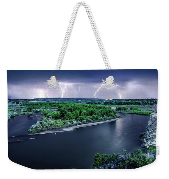 East Montana Lightning Storm Weekender Tote Bag