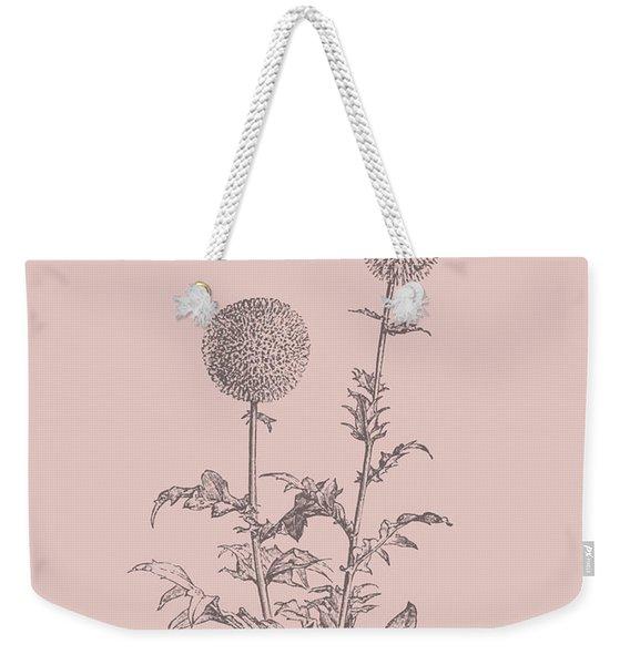 Echinopos Blush Pink Flower Weekender Tote Bag