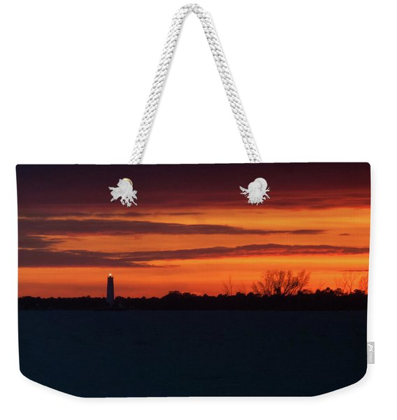 Egmont Key Lighthouse Sunset Weekender Tote Bag
