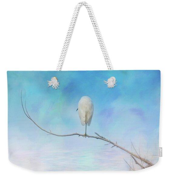 Egret On A Branch Weekender Tote Bag
