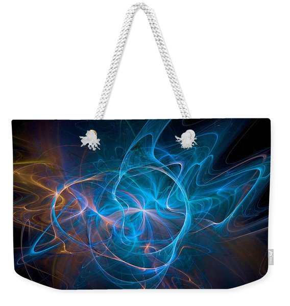 Weekender Tote Bag featuring the digital art Electric Universe Blue by Don Northup