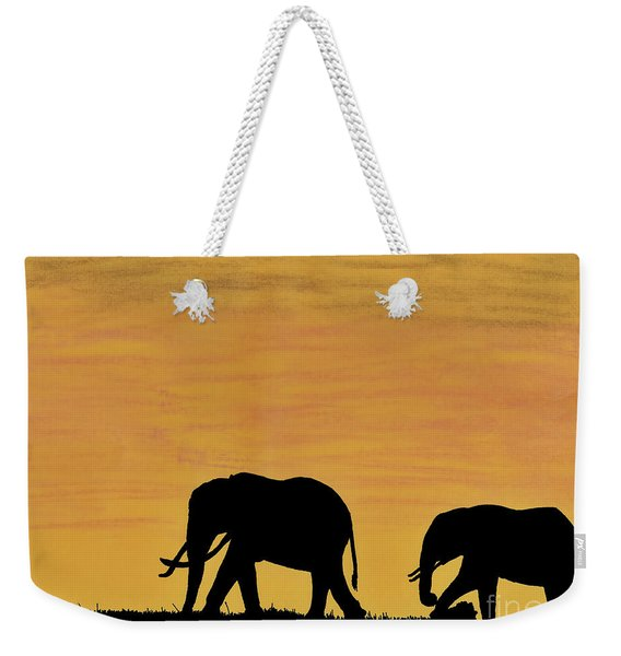 Elephants - At - Sunset Weekender Tote Bag