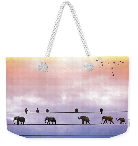 Elephants On The Wires Weekender Tote Bag