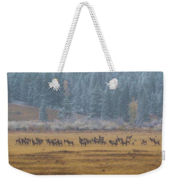 Elk On A Snowy Autumn Day Weekender Tote Bag