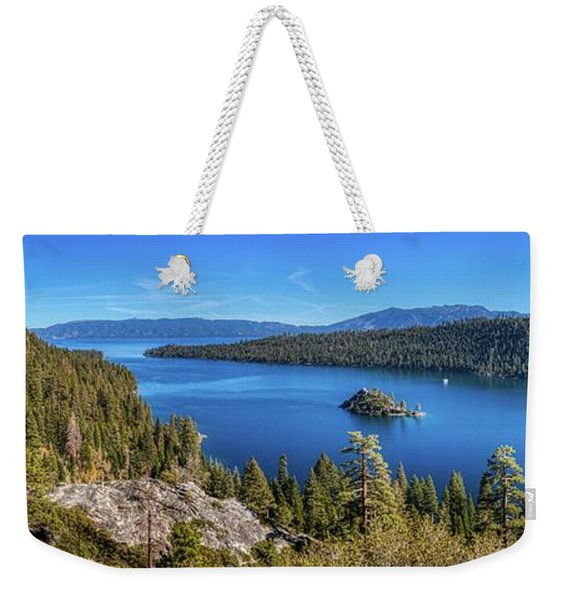 Weekender Tote Bag featuring the photograph Emerald Bay And Fannette Island Panorama by Andy Konieczny
