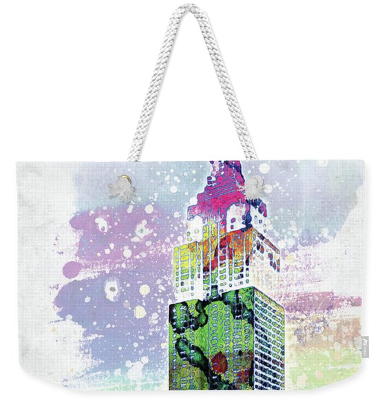 Empire State Building Colorful Watercolor Weekender Tote Bag