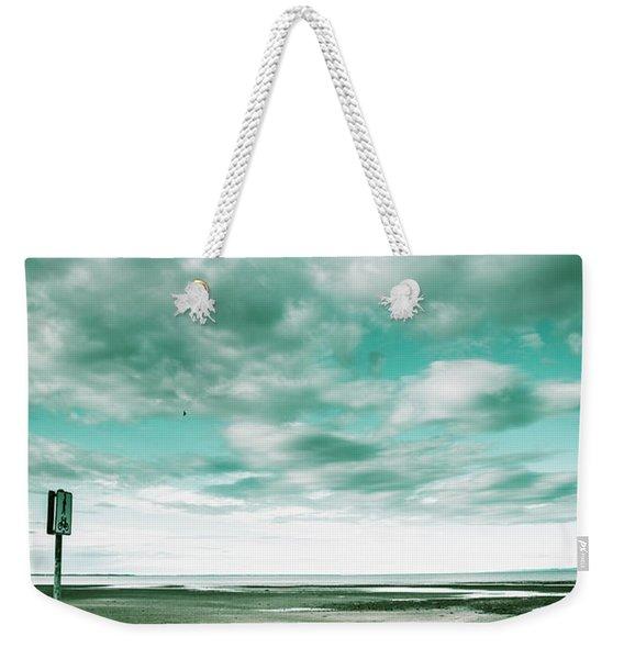 Empty Beach Bench Weekender Tote Bag