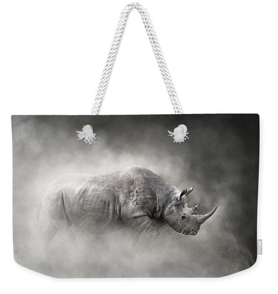 Endangered Black Rhino In The Dust Weekender Tote Bag