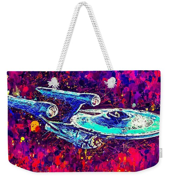 Weekender Tote Bag featuring the mixed media Star Trek Enterprise by Al Matra