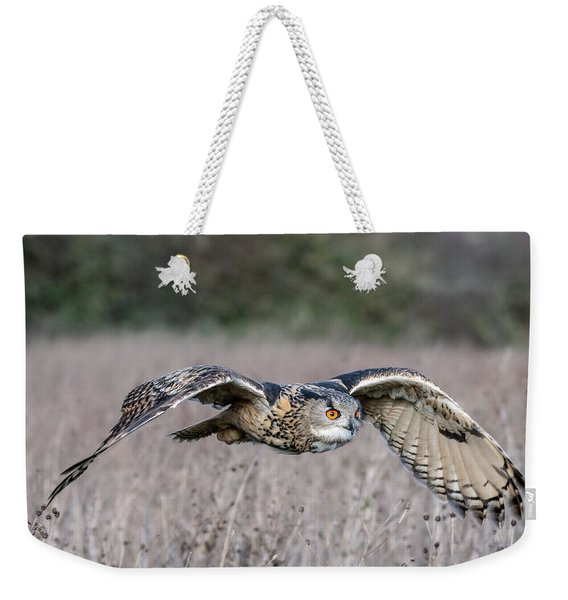 Eurasian Eagle Owl In Flight Weekender Tote Bag