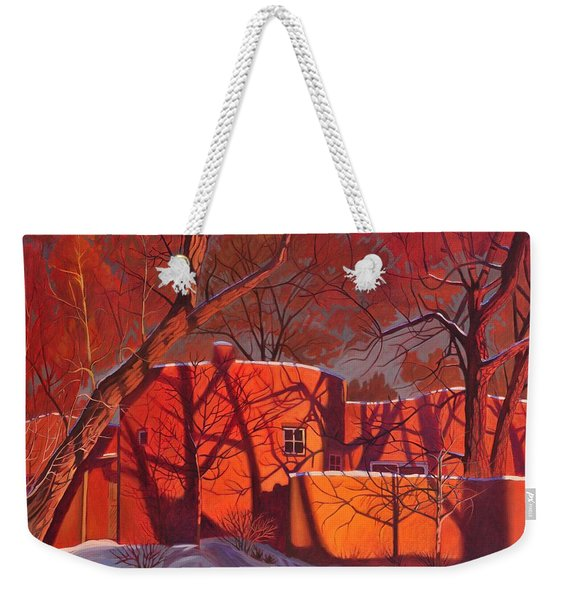 Evening Shadows On A Round Taos House Weekender Tote Bag