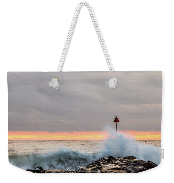 Weekender Tote Bag featuring the photograph Explosive Sea 1 by Jeff Sinon