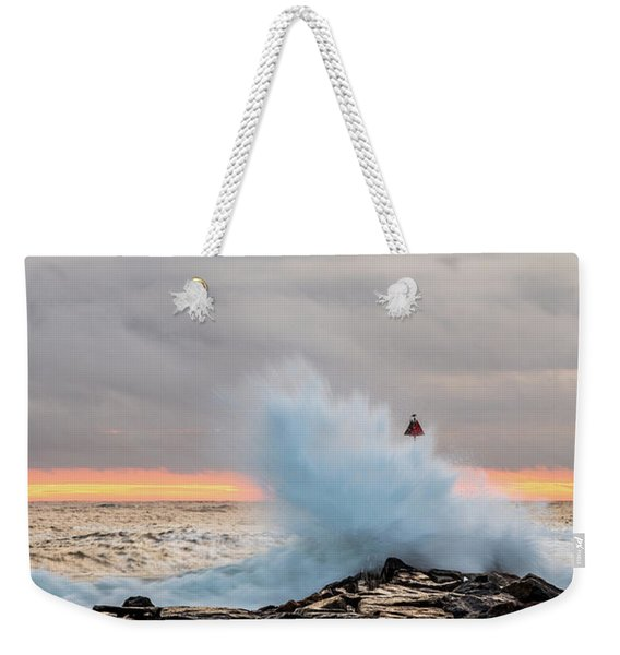 Weekender Tote Bag featuring the photograph Explosive Sea 2 by Jeff Sinon