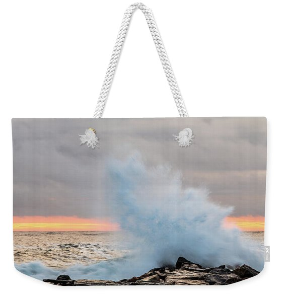Weekender Tote Bag featuring the photograph Explosive Sea 3 by Jeff Sinon