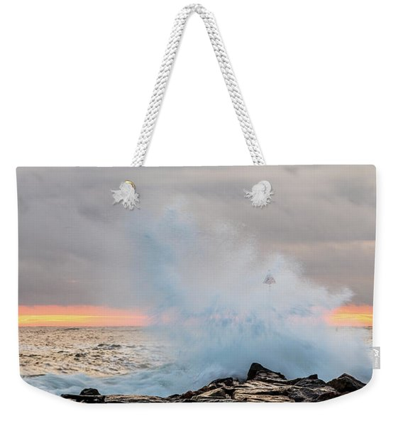 Weekender Tote Bag featuring the photograph Explosive Sea 4 by Jeff Sinon
