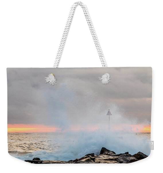 Weekender Tote Bag featuring the photograph Explosive Sea 5 by Jeff Sinon