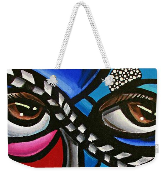 Eye Art Painting Abstract Chromatic Painting Electric Energy Artwork Weekender Tote Bag