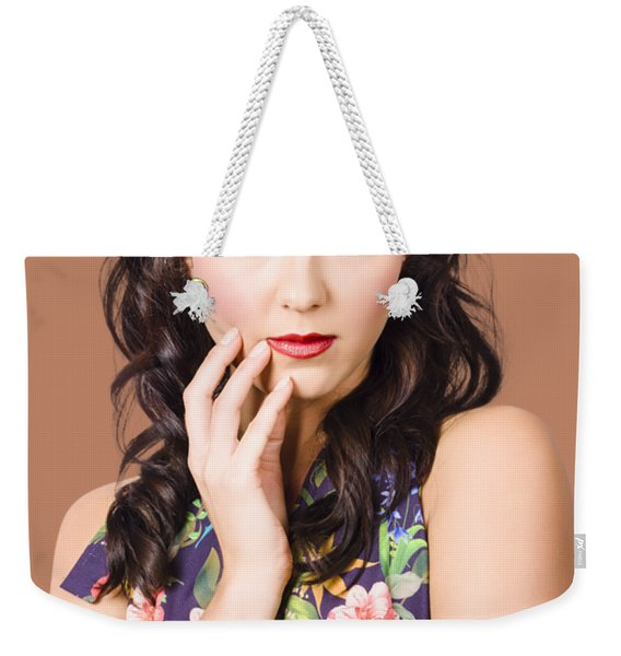 Face Of A Female Beauty With Flawless Makeup  Weekender Tote Bag