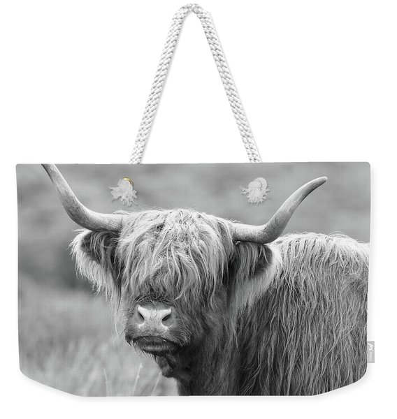 Face-to-face With A Highland Cow - Black And White Weekender Tote Bag
