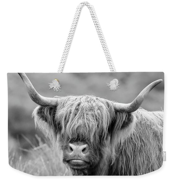 Face-to-face With A Highland Cow - Monochrome Weekender Tote Bag