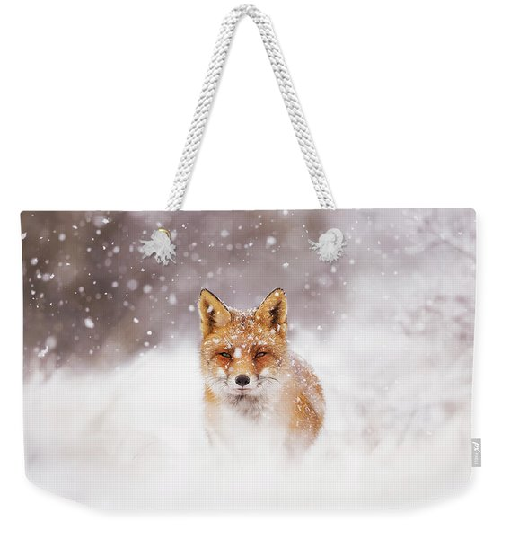 Fairytale Fox Series - Silent Fox In A Snowy Scene Weekender Tote Bag